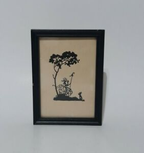 """Vintage Painted Silhouette """"Women In The Park With Dog""""  Wooden Frame"""
