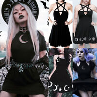 Gothic Punk Fashion Women's Witch Crescent Dress Halloween Party Cosplay Costume