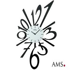 AMS 39 Wall Clock Quartz Filigree Cut Metal Design Black Painted 072
