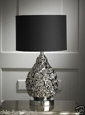 New Modern Rose Flower Bomb Black & Silver Table Lamp - 52cm Height