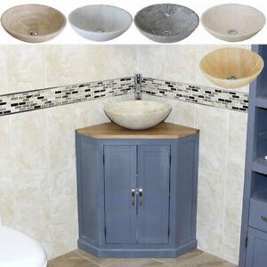 Grey Painted Bathroom Corner Vanity Unit Oak Top Wash Stand & Marble Basin