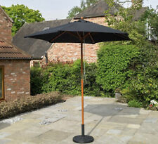 Kingfisher 2.4m Wooden Black Garden Parasol NEW