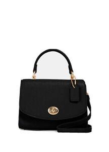 Coach Micro Tilly Top Handle Black Leather Handbag 3077
