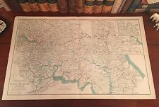 Large Original Antique Civil War Map RICHMOND DEFENSES Virginia VA Petersburg