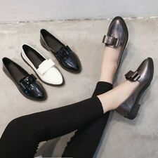 Womens Fashion Patent Leather Loafers Bow Pointed Toe Casual Shoes Pumps Slip on