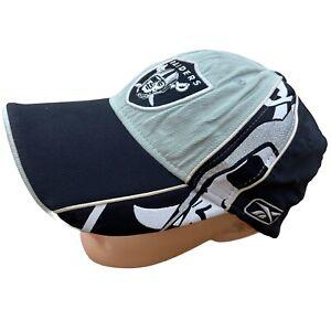 Reebok NFL Embroidered Baseball Cap Hat Las Vegas Raiders Black Skull Vintage