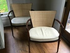 Pair Bert England for Johnson Furniture Caned Lounge Chairs Mid Century Modern