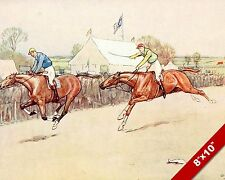 ENGLISH HORSE RACE & JOCKEYS RACING EQUESTRIAN ART PAINTING REAL CANVAS PRINT