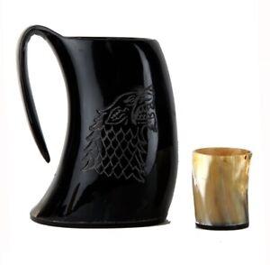 Genuine Viking Beer Horn Mug Drinking Tankard 20-24 OZ Vintage Beer Mug Steins