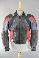 REV'IT! BLACK/BLUE/RED LEATHER BIKER JACKET WITH REMOVABLE CE PROTECTORS 38 INCH