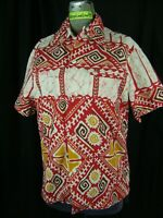 PACIFIC ISLE OF HAWAII Vtg 60-70s Red White Bark Cloth Men Shirt-Bust 38/S