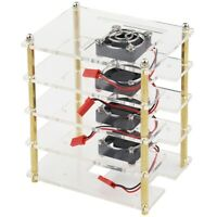 1X(For Raspberry Pi 4 Layers Acrylic Case Holder Box + Cooling Fan with MetK7B9