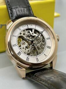 New Invicta Men's 42mm SS Skeleton Dial Rose Gold Case Black Leather Strap Watch