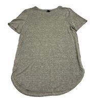 Ann Taylor Solid Gray Lightweight Knit Scoop Neck Short Sleeve Blouse Shirt Top