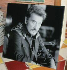 Johnny Hallyday Autographe De Sa Main,  Dedicace Hallyday Photo sur Plexiglass