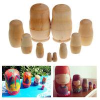 5Pcs Unpainted DIY Blank Wooden Embryos Russian Nesting Doll Matryoshka Toy Gift