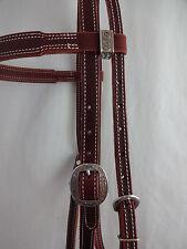 Double Stitched Heavy Latigo Leather Headstall Jeremiah Watt Conchos Horse Tack