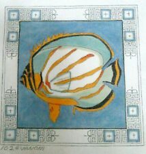 New ListingTropical Fish Hand Painted Needlepoint Canvas ~ Clown Butterfly Fish by Vanoni