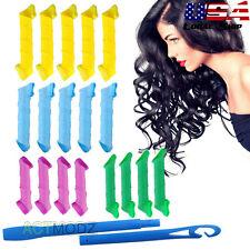 "18 Pcs/Set Spiral Curls DIY Magic Circle Hair Styling Roller Curler Tool 6""-10"""