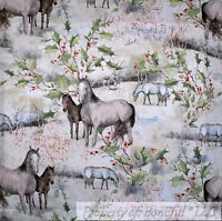 BonEful Fabric FQ Cotton Quilt Xmas Tree White Snow Brown HORSE Scenic Holiday L