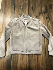 Overland Sheepskin Co Moto Biker Leather Full Zip Jacket Gray • Size 10