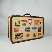 "Vintage Yellow Tweed 21"" Suitcase Labels Brown Leather Trim Antique Luggage"