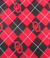 Fleece Fabric University of Oklahoma Red & Black Argyle - By the Yard