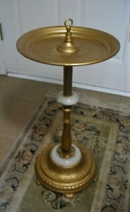 ART DECO GOLD PAINTED CAST IRON SMOKING STAND * SLAG DETAILS * EARLY 1900's