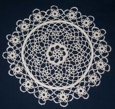 TATTED PAIR 11 1/2 inch WHITE HANDMADE DOILIES (2 Doilies) FLOWER PATTERN