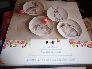 "Pier 1 Imports Elegant Gray Bunnies Salad Plates Easter 8""   Set 8 New"