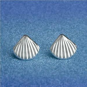 Shiny 925 Sterling Silver Plated Cute Small Sea Shell Shaped Stud Earrings Gift