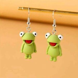 Cute 3D Frog Kermit Dangling Fun Novelty Hook Earrings Gift Dress Accessory
