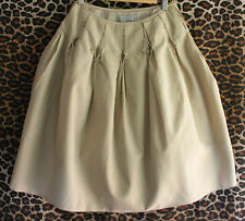 VERONIKA MAINE ~ Sand Light Tan Textured Italian Fabric Box Pleat Full Skirt ~ 8