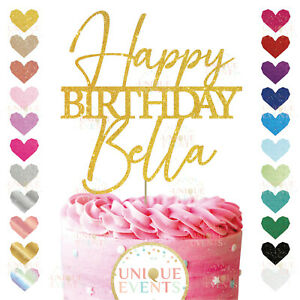 Happy Birthday Cake Topper Custom Any Name Personalised Glitter Any Age Topper