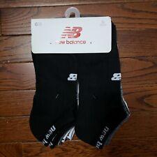 NWT New Balance Unisex No Show Socks 6 Pairs White Heather Grey Black Large