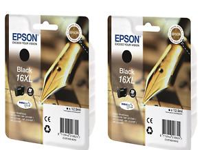 EPSON 16XL 2 X T1631 BLACK ORIGINAL INK CARTRIDGES FOR WORKFORCE WF-2010DW