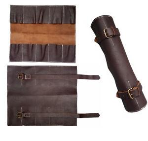 Genuine Leather Natural Dark Brown 10 Pocket Watch Roll for Travel Storage Gift