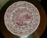 ANTIQUE STAFFORDSHIRE PINK TRANSFERWARE CLYDE SCENERY JACKSONS WARRANTED PLATE