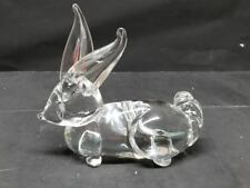 Hand Blown Art Glass Rabbit Bunny Figurine Art Deco