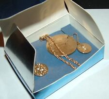 AVON GOLDTONE MEDALLION NECKLACE & EARRINGS GIFT SET - 2007