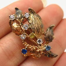 C Z Floral Design Pin Brooch Vtg 925 Sterling Silver Gold Plated Multicolor
