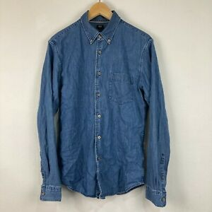 Uniqlo Mens Button Up Shirt Size S Small Blue Denim Long Sleeve Collared Slim