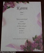 Lilacs n Lace Name Meaning Print Certificate  (Gift for Birth, Shower, Baptism)