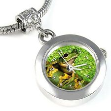 Frog Silver Quartz Watch European Spacer Charm Bead For Bracelet Necklace EBA149