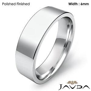 6mm Men Comfort Fit Flat Pipe Cut Wedding Band Matte Ring Platinum 12.2gm 9-9.75