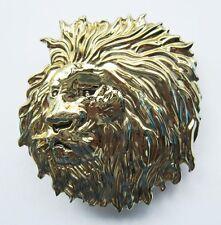 NEW LION GOLD WILD ANIMAL AFRICA SAFARI 3-D BELT BUCKLE