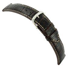 21mm Hadley-Roma Brown Genuine Leather Alligator Grain Mens Watch Band MS834