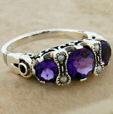 AMETHYST LAB 3 STONE ANTIQUE DESIGN 925 STERLING SILVER RING SIZE 7,  #406