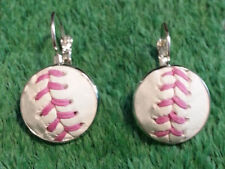 Pink Baseball Earrings Made From a Real Baseball With Pink Stitches