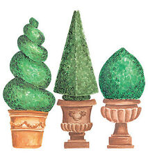 Topiaries Bonsai Trees Green Shrubs Pots 25 Wallies Decals Border Wall Stickers